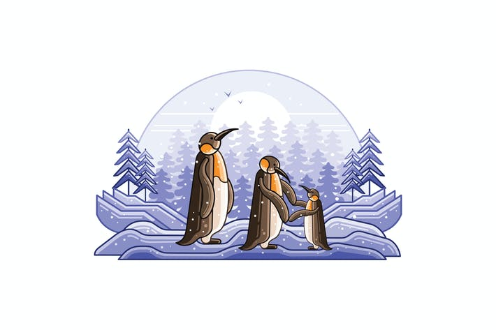 Thumbnail for Penguins Winter Graphics Line Illustration