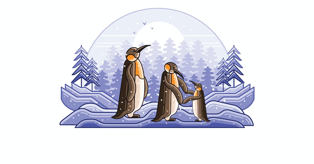 Download Penguins Winter Graphics Line Illustration by IanMikraz