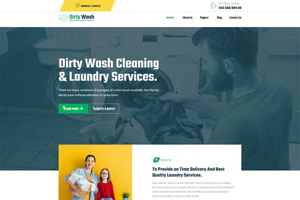 DirtyWash — Servicio de lavandería WordPress Tema