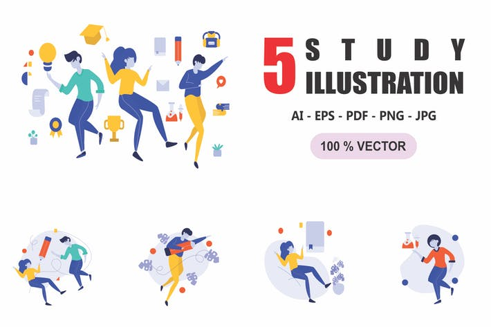 Studie - Flach Design Illustrationen
