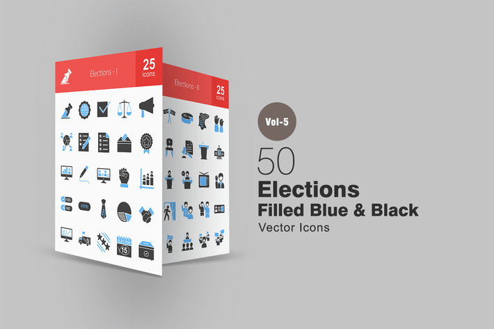 Thumbnail for 50 Elections Blue & Black Icons