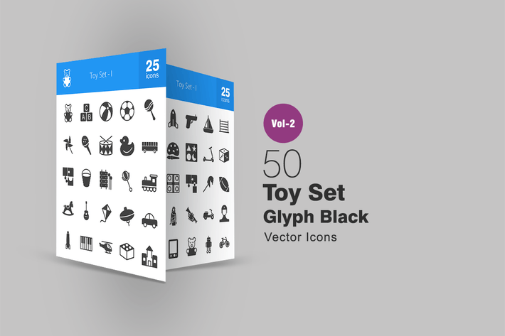 Thumbnail for 50 Toy Set Glyph Icons