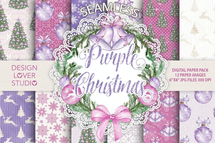 "Thumbnail for Watercolor ""Purple Christmas"" digital papers"