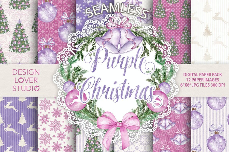"Watercolor ""Purple Christmas"" digital papers"