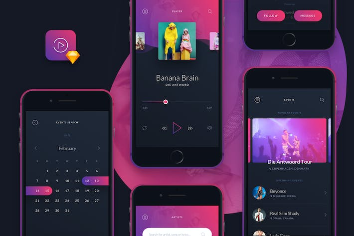 Thumbnail for Music UI/UX Mobile App Kit