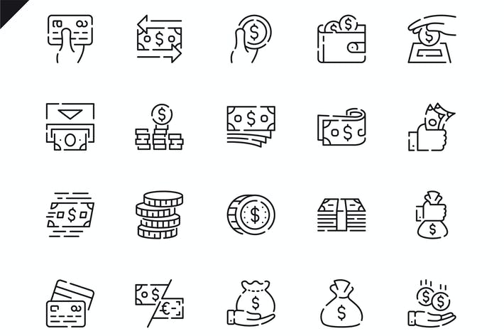 Thumbnail for Simple Set Money Line Icons