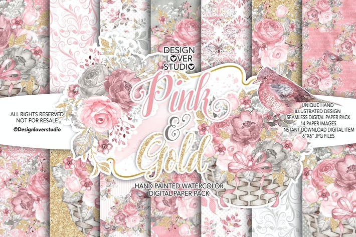 Cover Image For Watercolor PINK and GOLD digital paper pack