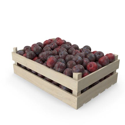 Plums in Wooden Crate