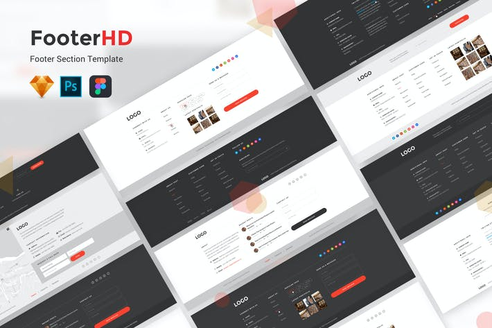 Thumbnail for FooterHD - Footer UI Kit Template