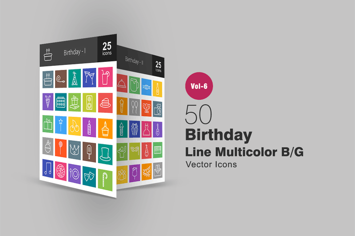 Thumbnail for 50 Birthday Line Multicolor B/G Icons