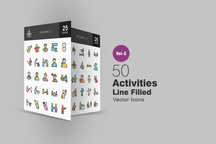 Thumbnail for 50 Activities Line Filled Icons