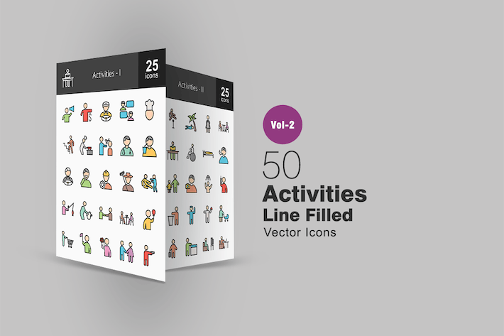 50 Activities Line Filled Icons