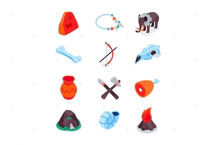 Prehistoric Times - Isometric Icons