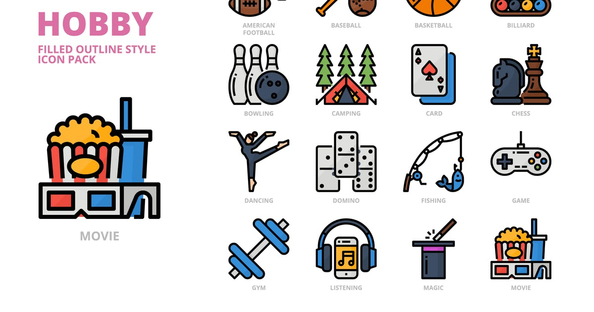 Download Hobby Filled Outline Style Icon Set by monkik
