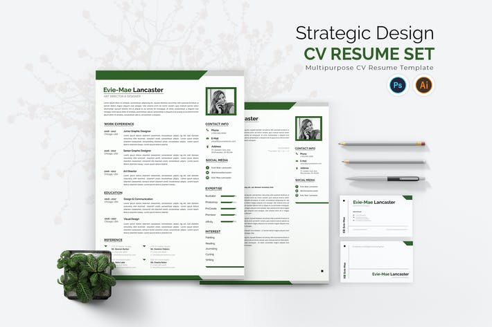 Thumbnail for Strategic Design CV Resume Set