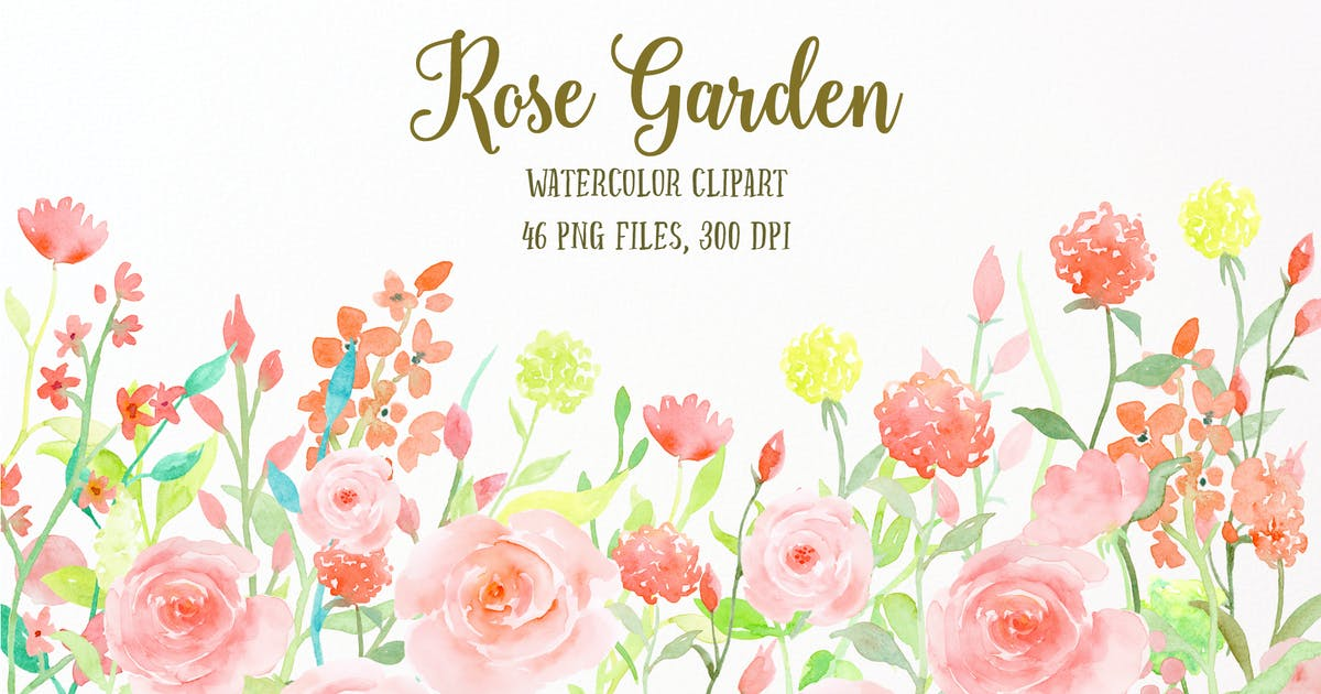 Download Watercolor Flower Collection Rose Garden by cornercroft