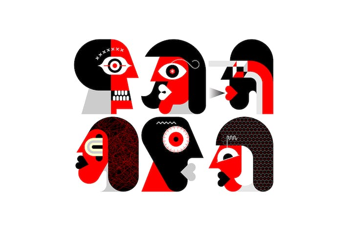Six Portraits vector illustration (red and black)