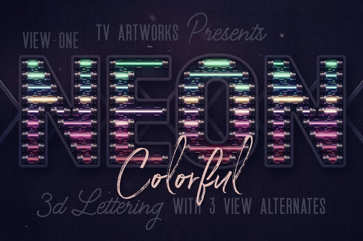 Thumbnail for Colorful Neon 3D Lettering View 1