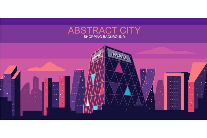 Thumbnail for Shopping City Vector Illustration Header Website
