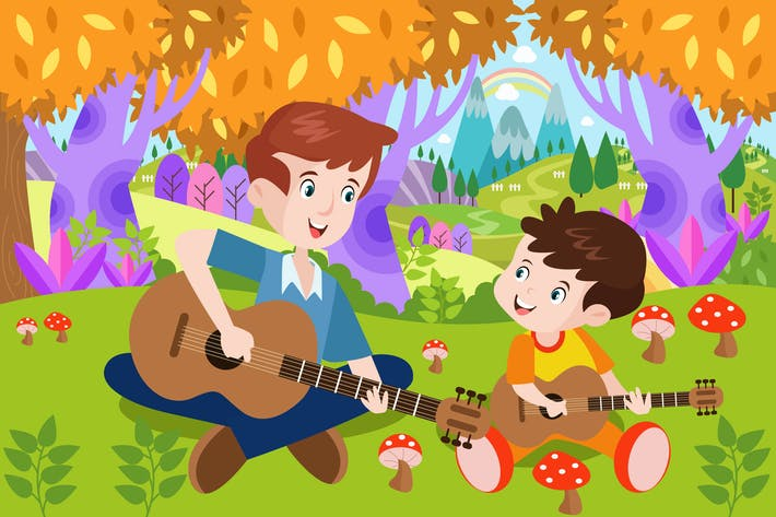 Thumbnail for Father & Son Playing Guitar Activity Illustration