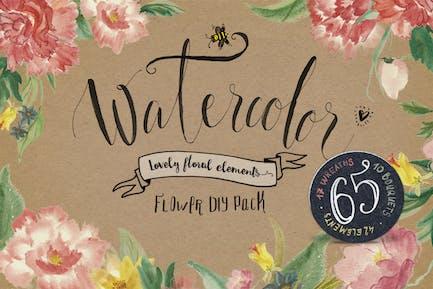 Watercolor flower DIY Pack