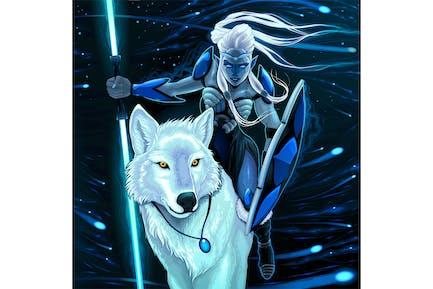 Elfe mit Weißer Wolf