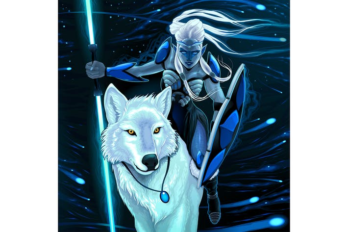 Elf with White Wolf