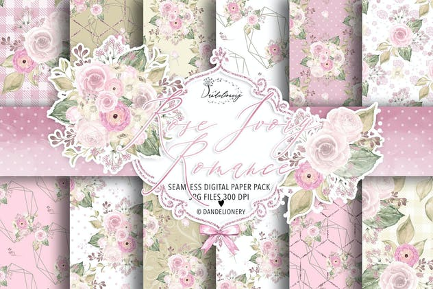 Rose Ivory Romance digital paper pack