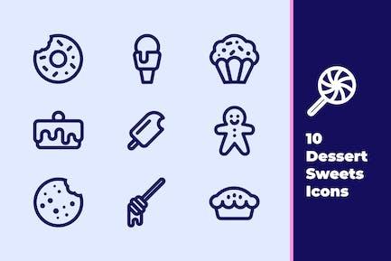 Desserts und Süßigkeiten Icons