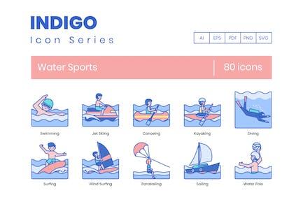 80 Íconos de línea de deportes acuáticos