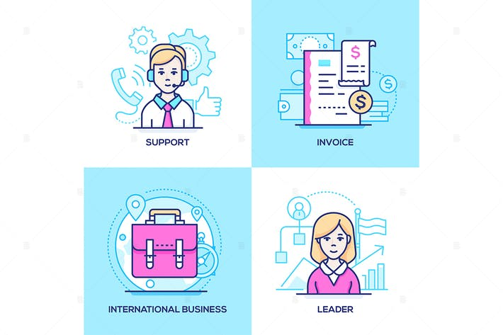 Business - set of line design style illustrations