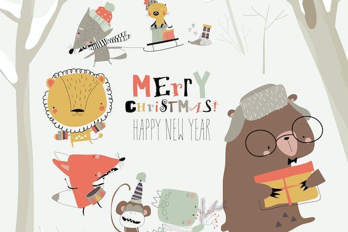 Thumbnail for Cartoon happy animals celebrating Christmas