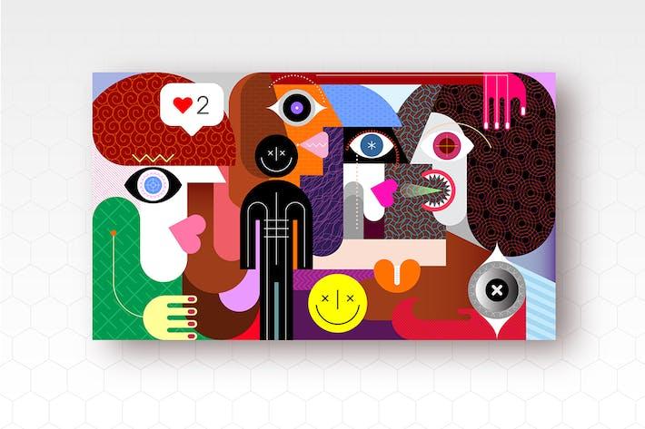 Thumbnail for Groupe de personnes et signe visage souriant