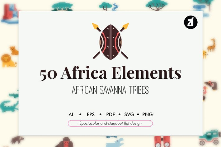Thumbnail for 50 Africa elements in flat design