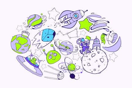 Weltraum-Rennen Doodles