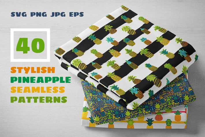 Thumbnail for Pineapples Patterns Set