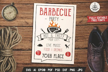 Barbecue Music Party Flyer. Summer BBQ Brochure
