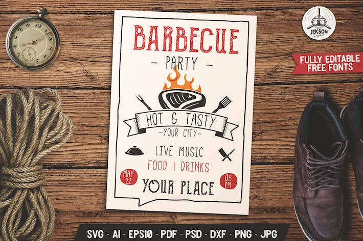 Thumbnail for Barbecue Musique Party dépliant Brochure BBQ d'été