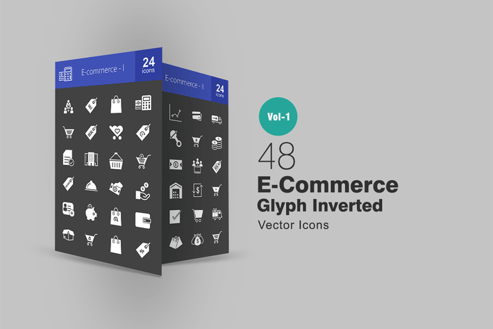 Thumbnail for 48 Ecommerce Glyph Inverted Icons