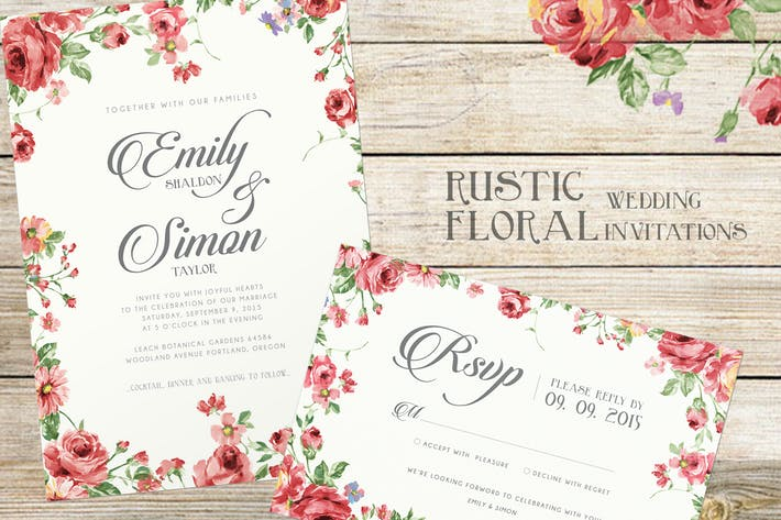 Thumbnail for Rustic Floral Wedding Invitations