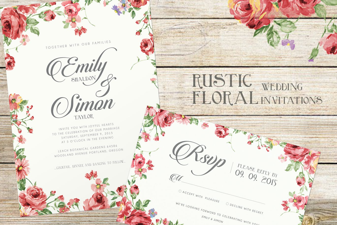 rustic floral wedding invitations by bnimit on envato elements