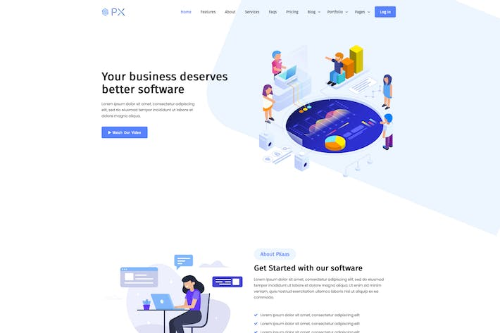 Thumbnail for PxAAS - App & Software Landing Page Thema