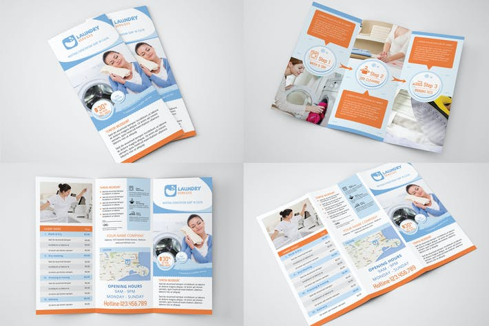 Thumbnail for Laundry Services - Trifold Brochure Template