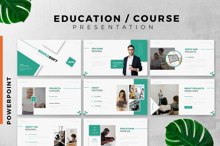 Education / Course powerpoint slide template
