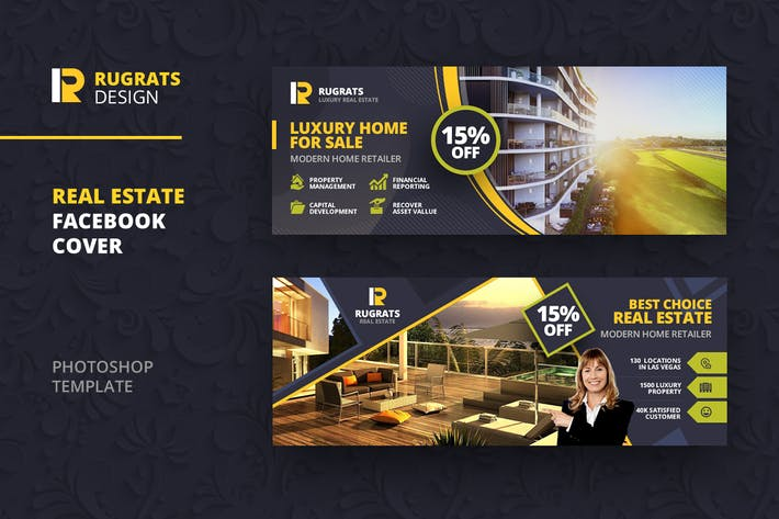 Thumbnail for Real Estate Facebook Cover Template