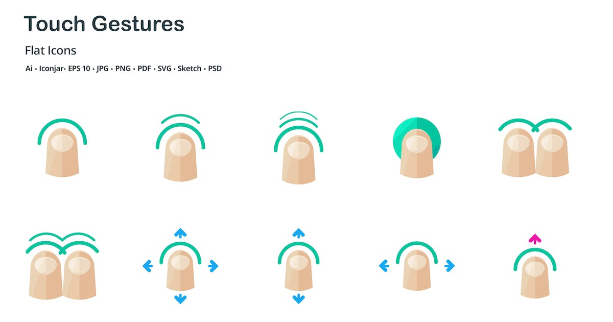 Download Touch Gestures Flat Colored Icons by roundicons