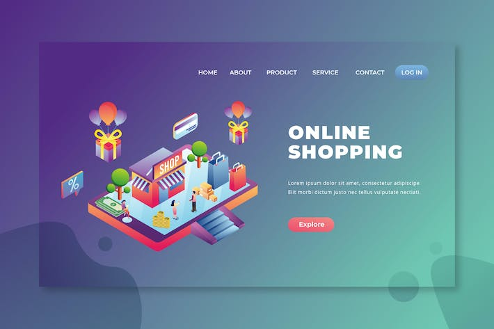 Thumbnail for Online Shopping - PSD and AI Vector Landing Page
