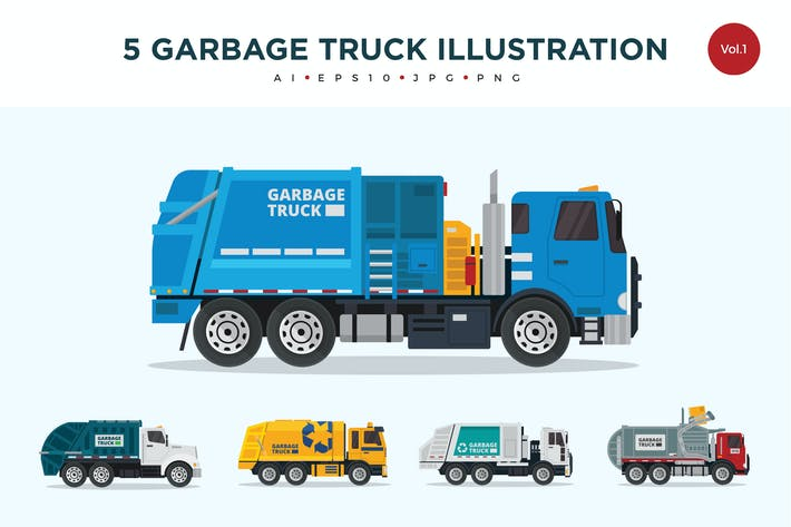 Thumbnail for 5 Recycle Garbage Truck Vector Illustration Set 1