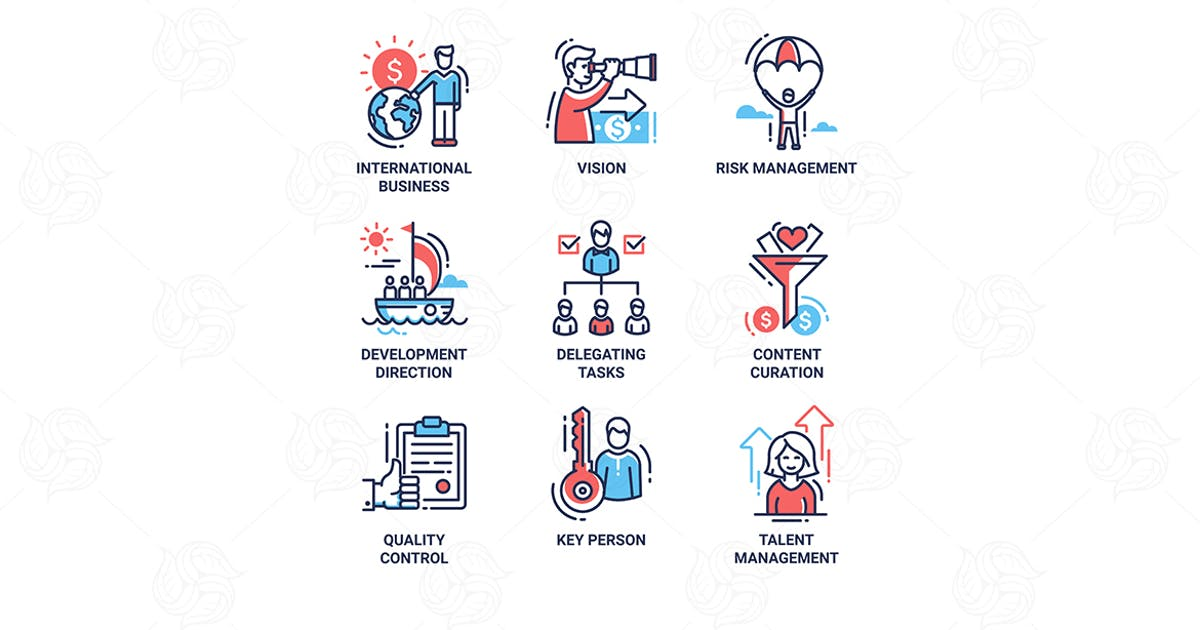 Business, finance modern thin line design icons by BoykoPictures
