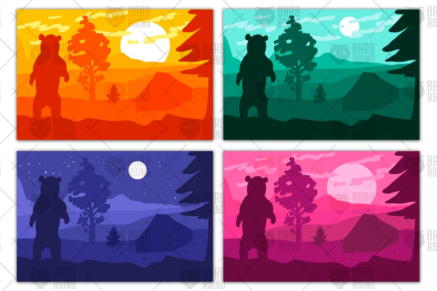 Wild bear in forest camp